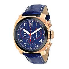 Christian Van Sant Grand Python Mens Blue & Gold-Tone Leather Strap Watch