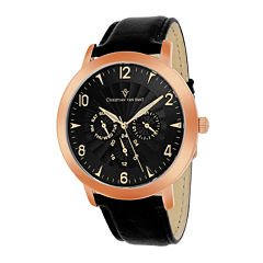 Christian Van Sant Harper Mens Black Strap Leather Watch