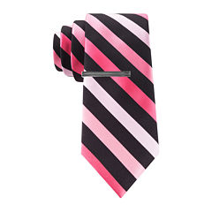 JF J. Ferrar® Patterson Striped Tie and Tie Bar Set - Slim