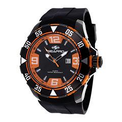 Seapro Diver Mens Orange and Black Silicone Strap Watch