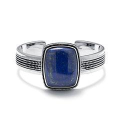 Dyed Blue Lapis Sterling Silver Rectangular Cuff Bracelet