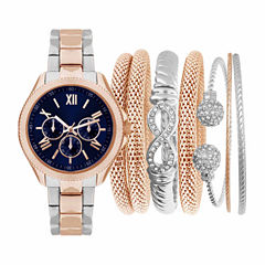 Two-Tone Silver and Rosegold Womens Watch and Bracelets Box Gift Set