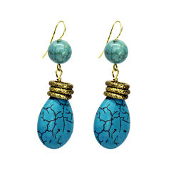 Aris by Treska Blue and Gold-Tone Drop Earrings