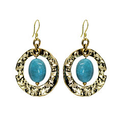 Aris by Treska Blue and Gold-Tone Ring Earrings