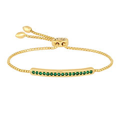 Rhythm and Muse Lab-Created Emerald Gold Over Silver Bolo Bracelet