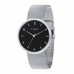 Fjord Mesh Band Mens Silver Tone Expansion Watch-Fj-3027-11