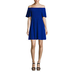 My Michelle Short Sleeve A-Line Dress-Juniors