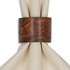 Design Imports Wood Band Set of 4 Napkin Rings