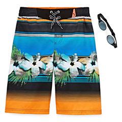 Zero Xposur Boys Terrace Stripes Swim Trunks-Big Kid