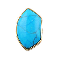 Art Smith by BARSE Genuine Blue Howlite & Yellow Brass Ring