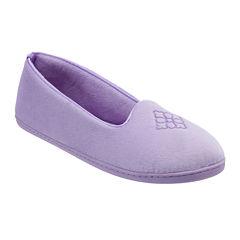 Dearfoams® Embroidered Velour Slip-On Slippers