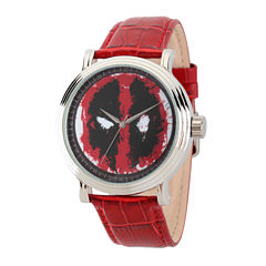 Marvel® Mens Deadpool Vintage Red Leather Strap Watch