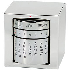 Natico Silver Polished Perpetual Calendar