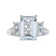 Genuine Blue Topaz 3-Stone Sterling Silver Ring