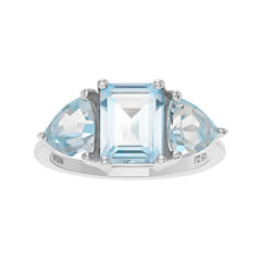 Genuine Blue Topaz 3-Stone Sterling Silver Ring