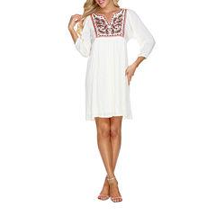 White Mark Marcella 3/4 Sleeve Paisley Sheath Dress