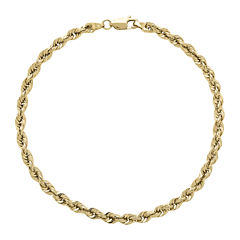 Infinite Gold™ 14K Yellow Gold Glitter Hollow Rope Chain Bracelet