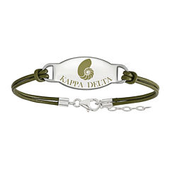 Kappa Delta Sterling Silver Oval Leather Bracelet