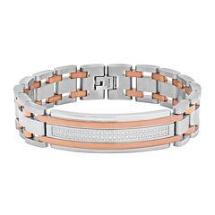 Mens Cubic Zirconia Two Tone Stainless Steel ID Bracelet