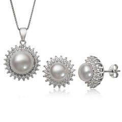 Womens 2-pc. Cultured Pearl & Lab-Created White Sapphire Sterling Silver Jewelry Set