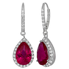 Lab-Created Ruby & White Sapphire Sterling Silver Earrings