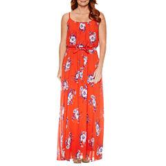 Robbie Bee Sleeveless Floral Maxi Dress-Petites