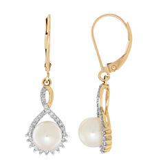 Sofia 1/5 CT. T.W. White Pearl 10K Gold Drop Earrings