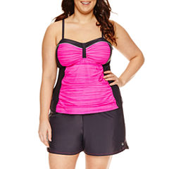 Free Country Solid Bandeau Swimsuit Top-Plus