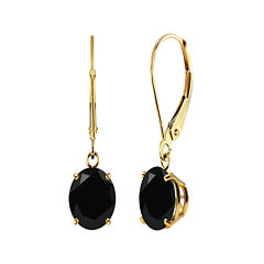 Genuine Black Onyx 10K Yellow Gold Dangle Earrings