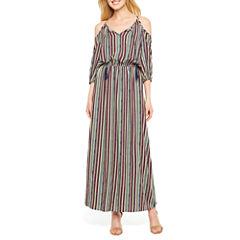 a.n.a Short Sleeve Stripe Maxi Dress