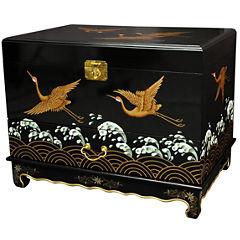 Oriental Furniture Cranes Design Storage Trunk