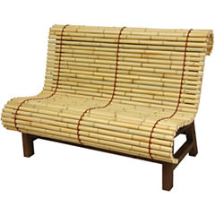 Oriental Furniture Curved Japanese Bamboo Footstool