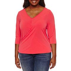 Boutique + 3/4 Sleeve V Neck Knit Stripe Blouse-Plus