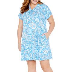 Collette By Miss Elaine Short Sleeve Interlock Snap Robe-Plus
