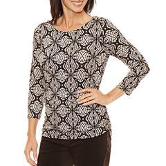 Lark Lane 3/4 Sleeve Scoop Neck T-Shirt-Womens