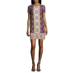 London Style Short Sleeve Pattern Shift Dress-Petites