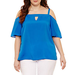 Bisou Bisou Cold Shoulder Keyhole Neck Woven Blouse-Plus