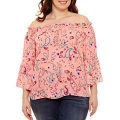 Boutique + 3/4 Sleeve Off the Shoulder Woven Blouse-Plus