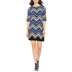 Studio 1 Elbow Sleeve Chevron Shift Dress