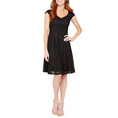 Liz Claiborne Short Sleeve Fit & Flare Dress