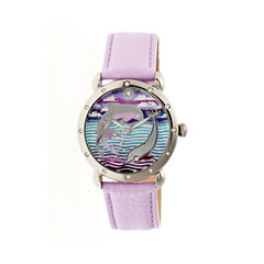 Bertha Womens Estella Mother-Of-Pearl Laveneder Leather-Band Watchbthbr5103