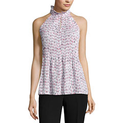 Worthington Sleeveless Mock Neck Woven Jacquard Blouse