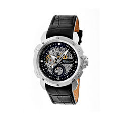 Heritor Automatic Carter Skeleton Dial Leather-Silver/Black Watches