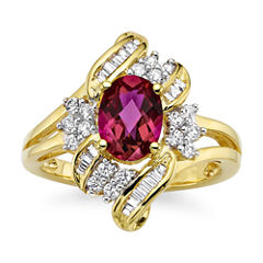 Lab-Created Ruby and White Sapphire Cluster Ring