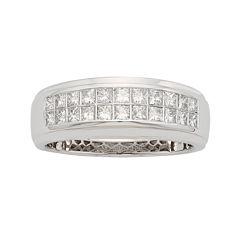 Mens 1 CT. T.W. Certified Diamond 14K White Gold Wedding Band