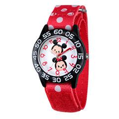 Disney Girls  Mickey & Minnie Mouse Tsum Tsum Red And Black Polka Dot Time Teacher Strap Watch W003003