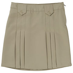 French Toast Woven Front-Pleated Tab Skirt - Big Kid Girls