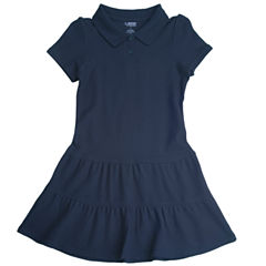 French Toast Ruffled Pique Polo Dress - Big Kid Girls