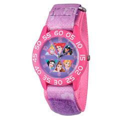 Disney Princess Girls Pink Princesses Time Teacher Strap Watch W002949