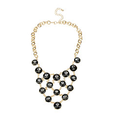 Worthington Gold-Tone Oval Link Necklace with Round Gray Stones